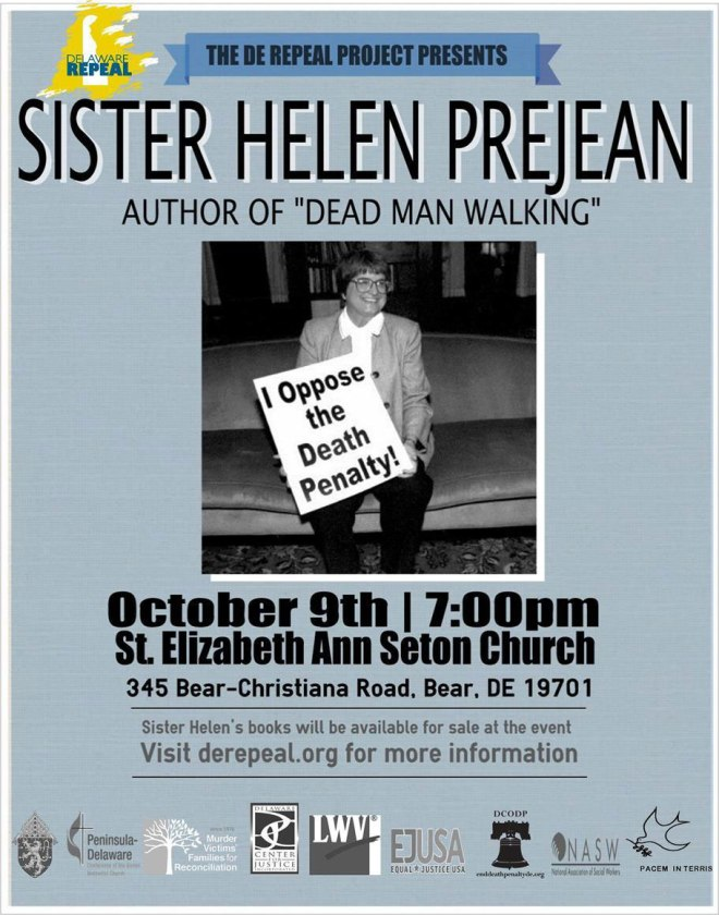 Sister Helen Prejean in Bear, DE, Wed 10/9/13 at 7pm