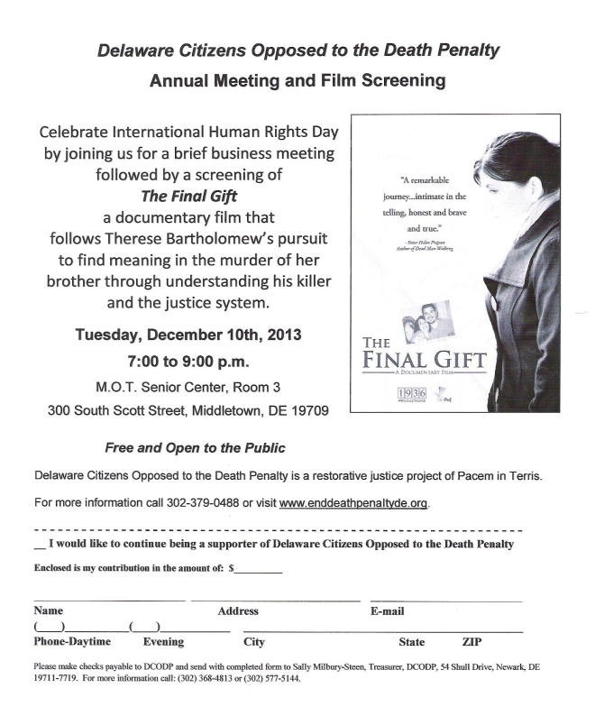 Annual Meeting and Film Screening Tuesday 12/10/13