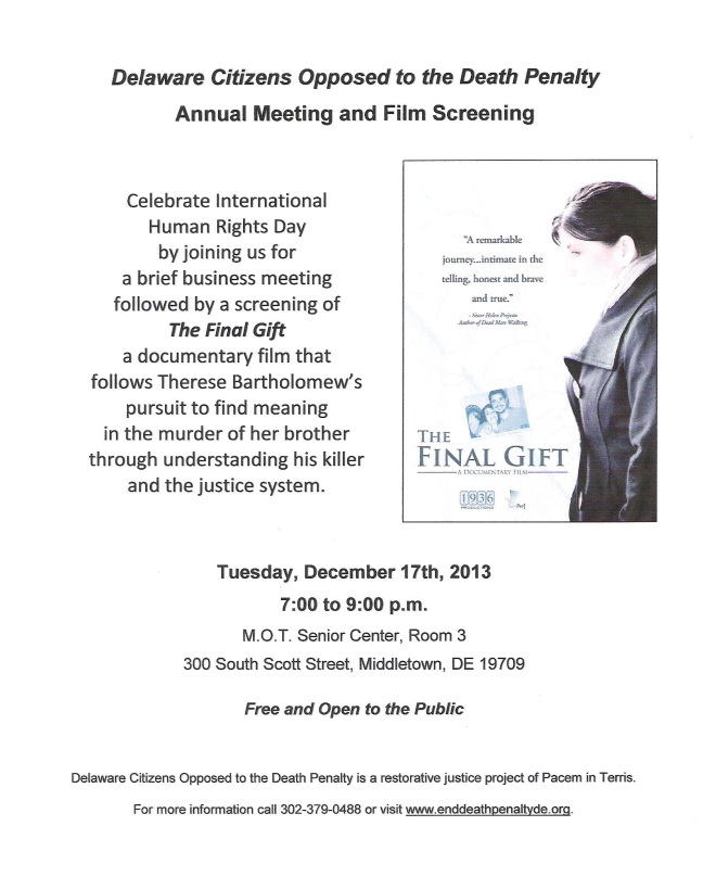 Annual Meeting and Film Screening Rescheduled for Tuesday, 12/17/13